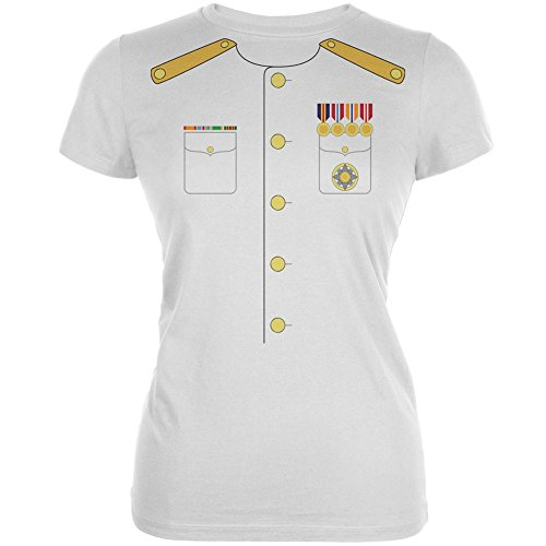 Old Glory Halloween Navy Admiral Costume White Juniors Soft T-Shirt - -