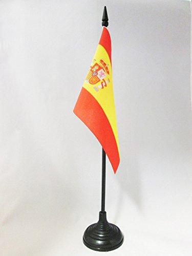 AZ FLAG Spain Table Flag 4'' x 6'' - Spanish Desk Flag 15 x 10 cm - Black Plastic Stick and Base
