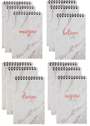 Spiral Notepad - 12-Pack Top Spiral Notebooks, Bulk Mini Spiral Notepads for Party Favors, Note Taking, To-do Lists, Lined Paper, 4 Designs Inspirational Words in Marble Print, 4 x 6 Inches