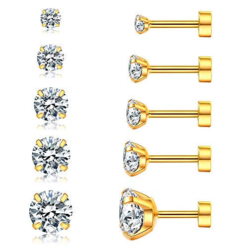 (Set of 5 Pairs 16G Stainless Steel CZ Earrings Round Cubic Zirconia Stud Earrings Helix Tragus Barbell for Men and Women 3-8mm (Gold))