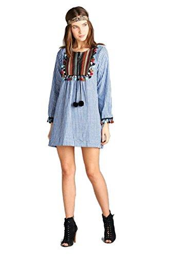 Velzera Women's Bohemian PIn Striped Tassel Yoke Long Tunic Reg & Plus Size (Medium, Blue)