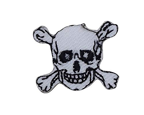 Mini/XS - Skull/Crossbones - Jolly Roger - Black/White - Iron on Applique/Embroidered Patch