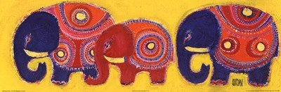 Famille Elephants En Jaune by Sophie Jourdan - 23.5x8 Inches - Art Print Poster