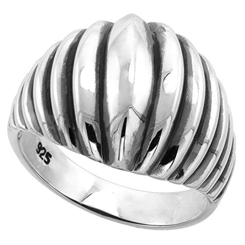 Sterling Silver Scalloped High Dome Ring for Women 5/8 inch size 7.5 -
