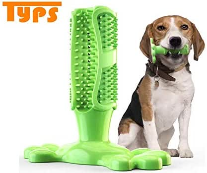 TYPS Dog Toothbrush Stick/Puppy Dental Care Brushing Stick/Natura/Rubber Bite Resistant Dog Chew Toys for Medium Dogs/Effective Doggy Tooth Cleaner Massager/Toothbrush for Pet (M, Green)