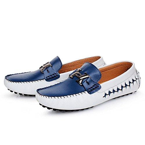 Tda Heren Blok Metaal Klassiek Leer Loafers Mocassin Bootschoenen Blauw