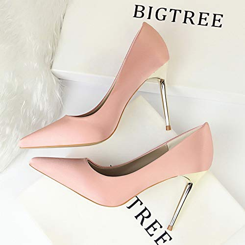 Yukun Elegant Satin Shallow Autumn Heels Pink Stiletto Professional Silk alto Shoes tacón High de Women's Pointed zapatos Black Green 0wxqr4Z0H