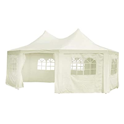 vidaXL Octagonal Party Tent 20 x 15 x 12 ft Heavy Duty Large Commercial Canopy Wedding Events Tent, Canopy Tent Gazebo Party Tent Outdoor Patio, Waterproof UV Protection Tent, Cream White : Garden & Outdoor