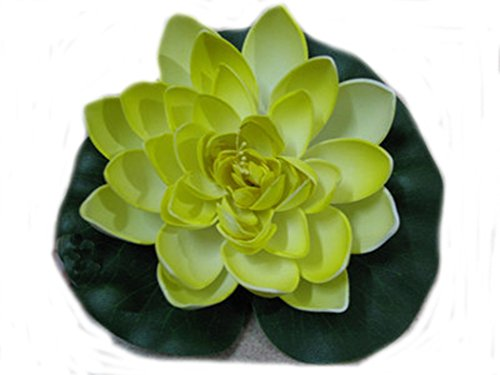 Ewandastore 1pcs Artificial Floating Foam Lotus Water Lily Pond Decor Plants Flower Yellow
