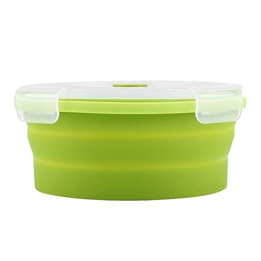 Caja de Plástico Universal Bento Box - 800 ml de Silicona Redonda ...