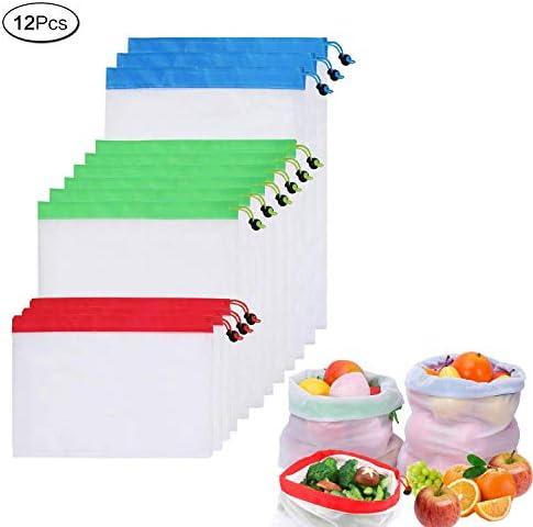 再利用可能なエコフレンドリーなネットバッグ キッチン収納袋 果物野菜収納袋 果物と野菜のメッシュバッグ