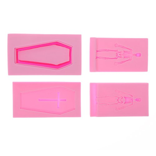 MagiDeal 4pcs Punk Silicone Skeleton Coffin Set Mould Cake Baking Fondant Sugar Craft Wedding Birthday Party Decor