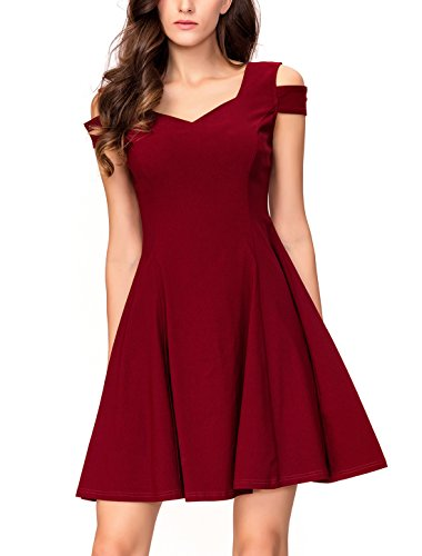 InsNova Women's Burgundy Off Shoulder Sweetheart Cocktail Party A-line Dress M