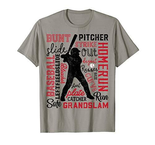 Baseball T Shirt For Boys Men Gift Batter Pitcher Catcher ()
