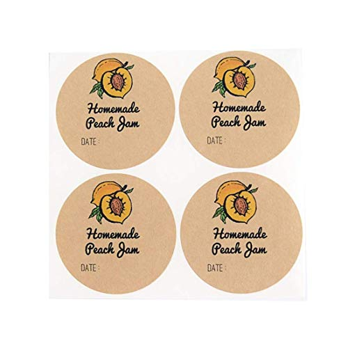 Peach Jam Labels for Canning Jars by Once Upon Supplies, Jelly Labels, 2 Inches Size Fits Regular Mouth Mason Jars, 40 Pcs
