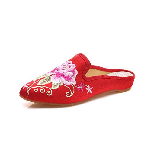 Slip las floral satén para Mocasines las Casual mujeres de mujeres Mules chino bordado punta de de Backless rojo YIBLBOX Zapatillas House On estrecha Zapatos wH4Xqy8A8