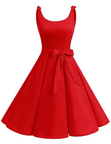 Bbonlinedress 1950's Bowknot Vintage Retro Polka Dot Rockabilly Swing Dress DarkRed ()