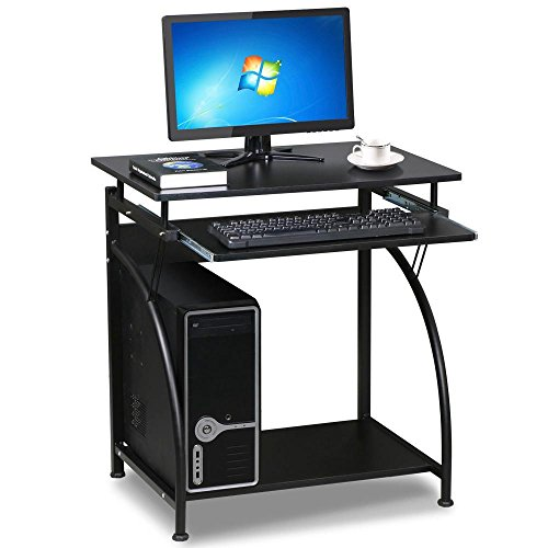 go2buy Black Compact Computer Desk with Slide Keyboard Tray and Storage Shelf Home Office Furniture (Compact Tables And Chairs)