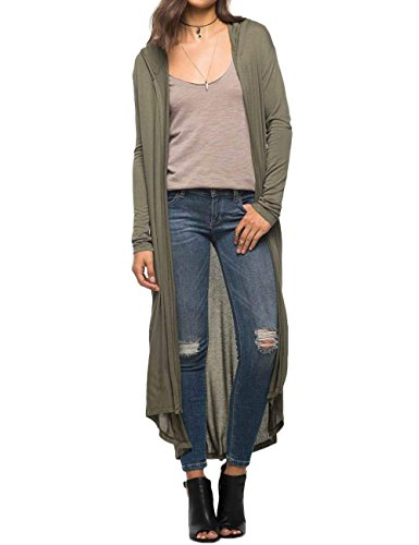 Begonia.K Women's Long Sleeve Open Front Lightweight Maxi Hooded Duster Cardigan, Green, Large