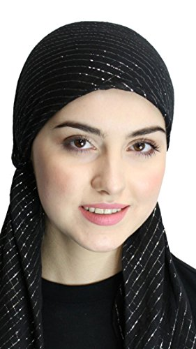 Pre Tied 100% Cotton Fitted Lurex® Head Scarf Bandana, Chemo Scarf (Black) (Lightweight Headwrap Cotton)