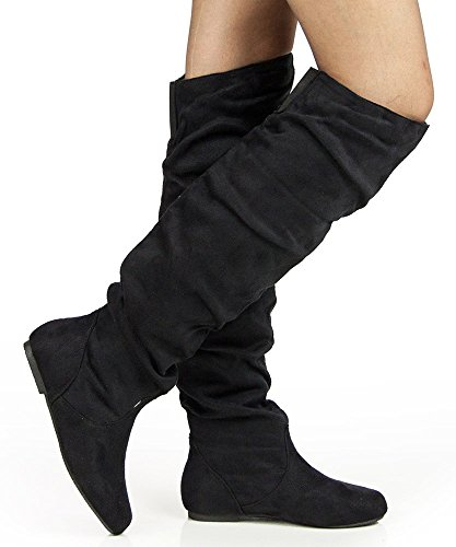 Womens TREND-Hi Over-the-Knee Thigh High Flat Slouchy Shaft Low Heel Boots by ROOM OF FASHION BLACK SUEDE (8.5)