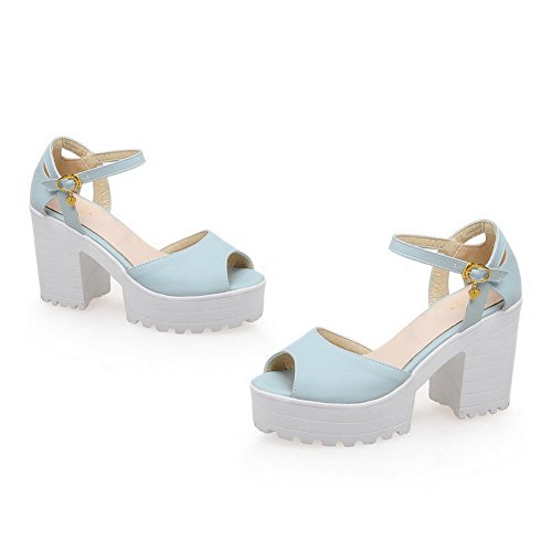 AdeeSu Womens Hollow Out Square Heels Chunky Heels Buckle Urethane Sandals SLC03339 Blue vXqXayAV3