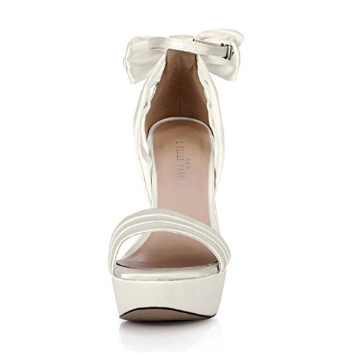 Best 4U® Sandali estivi donna Faux Silk Bow Peep toe 14CM Tacchi alti 3 CM Piattaforma Suola in gomma Scarpe Beige