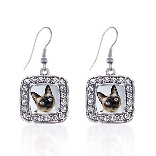 (Inspired Silver - Siamese Cat Charm Earrings for Women - Silver Square Charm French Hook Drop Earrings with Cubic Zirconia Jewelry)