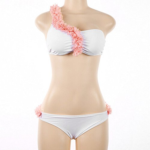 SKY Mujeres La Sra hombro flores tridimensionales dividida traje de baño bikini Floral Swimsuit Swimwear Beachwear Bathing Suit Blanco