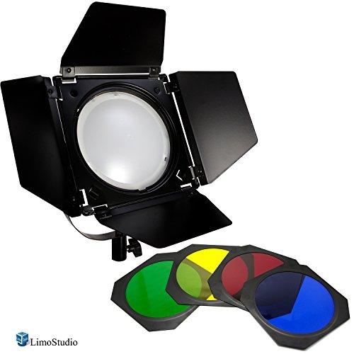 LimoStudio LED Barn Door Lighting Set, 4 Color Gel Filters for Professional Photography Lighting, Photography Studio, AGG2539 by LimoStudio