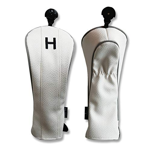 (Big Teeth Golf Hybrid Club Headcovers Hybrids Rescue Utility UT Clubs Cover Protector with Interchangeable No.Tag for Taylormade Callaway Titleist (White))