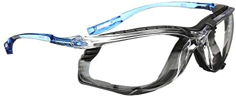 3M Safety Glasses, Virtua CCS, ANSI Z87, Anti-Fog, Clear Lens, Blue Frame, Corded Ear Plug Control System, Removable Foam Gasket