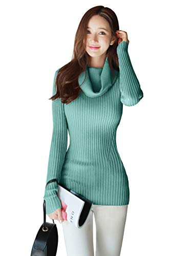 v28 Women Stretchable Cowl Neck Knit Long Sleeve Slim Fit Bodycon Sweater-S,JD