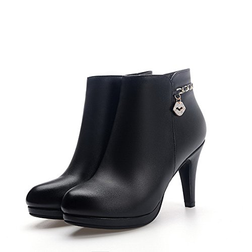 Boots Solid Black With Charms Zipper Closed Heels High Toe Round Odomolor Pu Women's w5ZzqCnn7