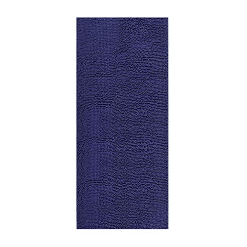 ITSOFT Non-Slip Shaggy Chenille Soft Microfibers Bathroom Rug and Bath mat Water Absorbent, Machine Washable, 21 x 47 inch Navy Blue