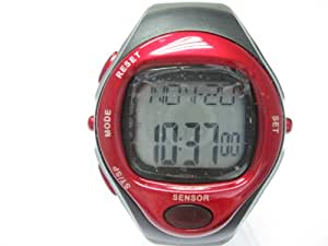 Heart Rate Monitor Calories Counter Fitness Pulse Watch Wristwatches Sports Watch Digital Running Timer (Red)