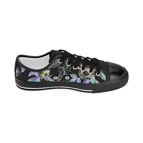 Interestprint Floral Et Mandala Classique Toile Chaussures À Enfiler Pour Les Femmes Fleurs Avec Des Feuilles Aquarelle