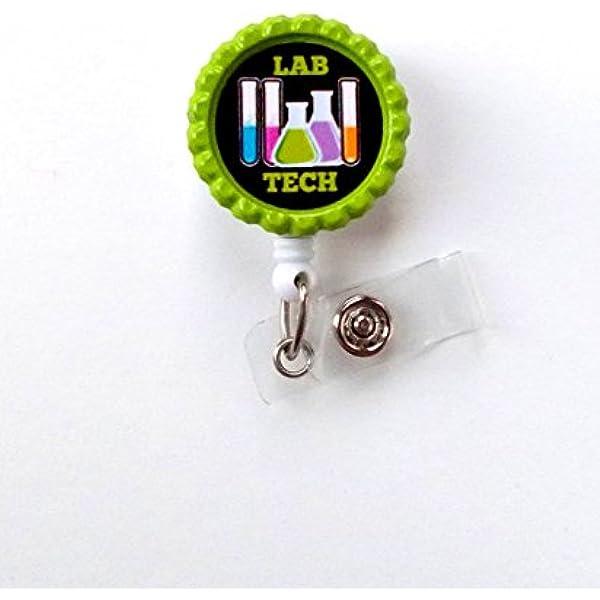 Badge Reel Medical Laboratory Technician Badge Bling MLT Badge Gift- BottleCapsGalorNMor Retractable Badge Reel