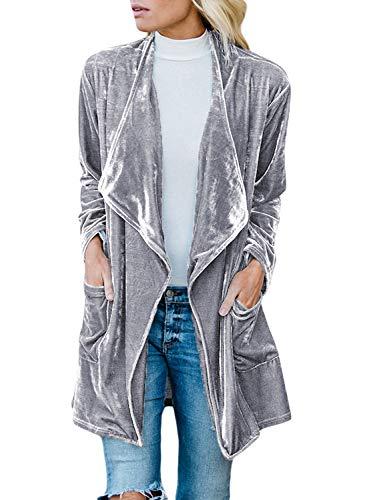 Women Long Sleeve Velvet Lapel Draped Open Front Cardigan Coat Oversized Warm Winter Outwear Blazer Casual Jacket with Pockets Gray 2X 20 22 ()