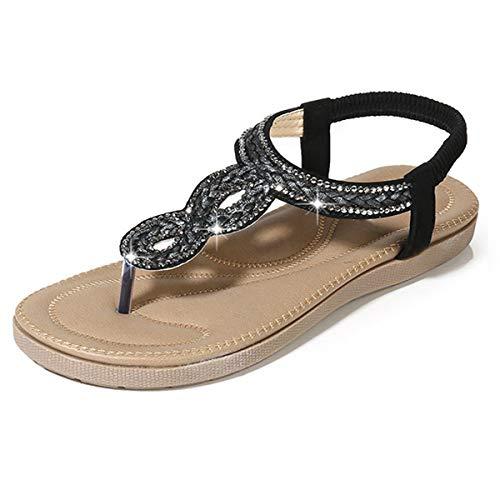 zeetoo Flat Sandals for Women Casual Clip Toe Sandals Bohemia Rhinestone Flower Beaded Comfort T-Strap Sandals Black 7 B(M) US