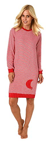 NORMANN WÄSCHEFFECT dames badstof nachthemd met manchetten sterren stippen design – ook in extra maten tot 60/62