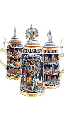 German Beer Stein cities 1 liter tankard, beer mug ZO 1941/9913