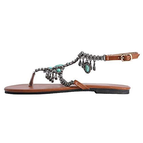 Diamond Sandal Pendant - Sanyyanlsy Women Bohemian Gem Diamond Pendant Swing Sandals Ethnic Flip Flop Buckle Strap Sandals Flat Flip Flops Beach Blue