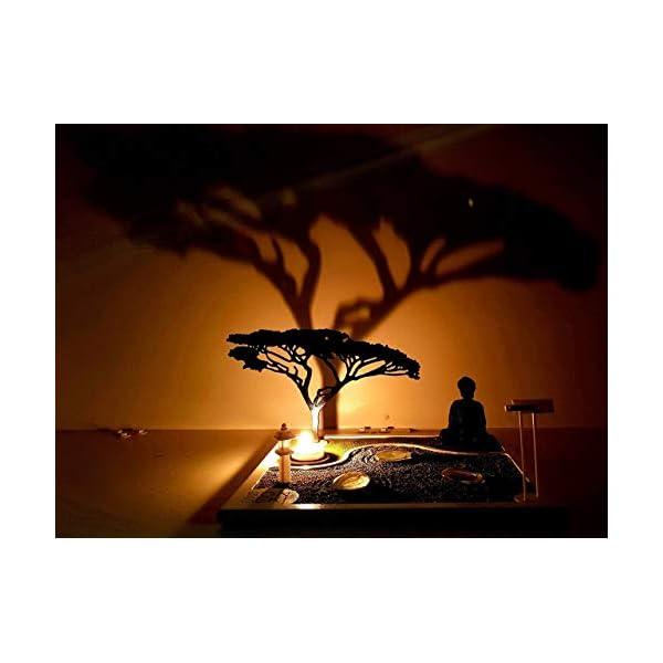 Bonseki® Giardino Zen da tavolo 30 x 30 in legno, proietta l'ombra del bonsai sulla parete, personalizzabile. 5 spesavip