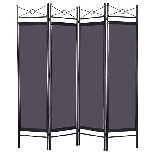 - Black 4 Panel Room Divider Privacy Screen Home Office Fabric Metal Frame