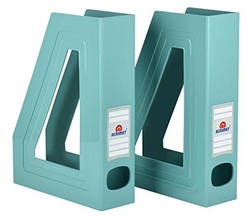 Acrimet Magazine File Holder (Solid Green Color) (2 Pack)