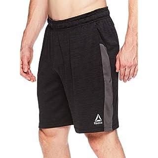 Reebok Men's Drawstring Shorts - Athletic Running & Workout Short - Cool Down Black Heather, X-Large