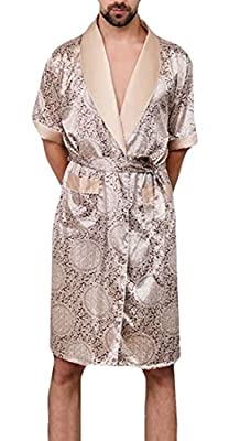 WSPLYSPJY Men's Fashion Short Sleeve Kimono Robe Satin Silk Bathrobe Nightgown