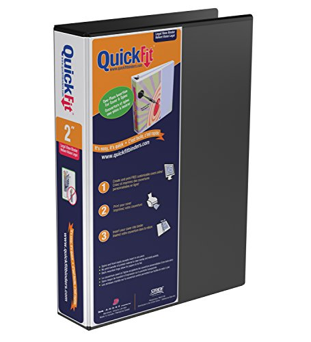 QuickFit Heavy Duty 14 x 8.5 Inch Portrait Legal View Binder, 2 Inch, Angle D Ring, Black (95031P)