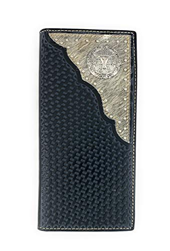 Men's Western Rodeo Genuine Leather Concho Bifold Long Wallet (Longhorn Hair on, Black)